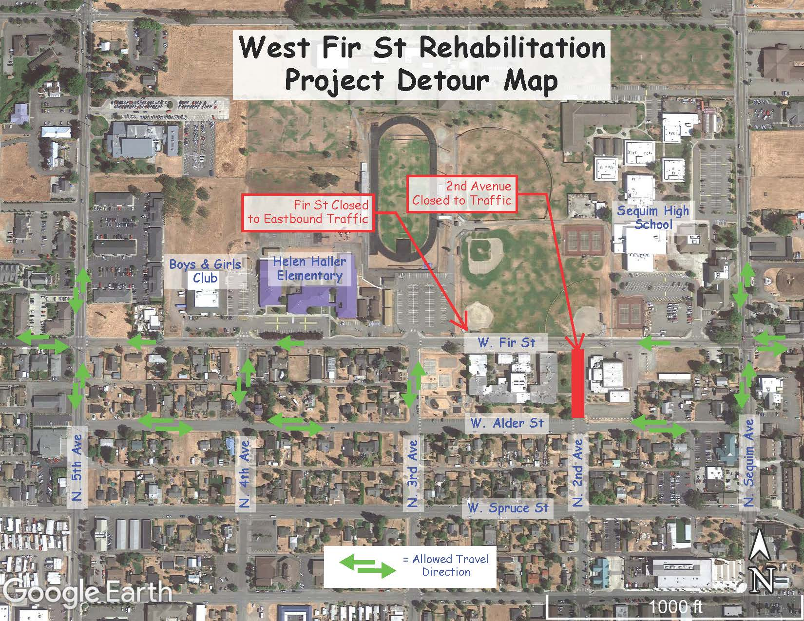 West Fir St Rehabilitation Project Detour Map