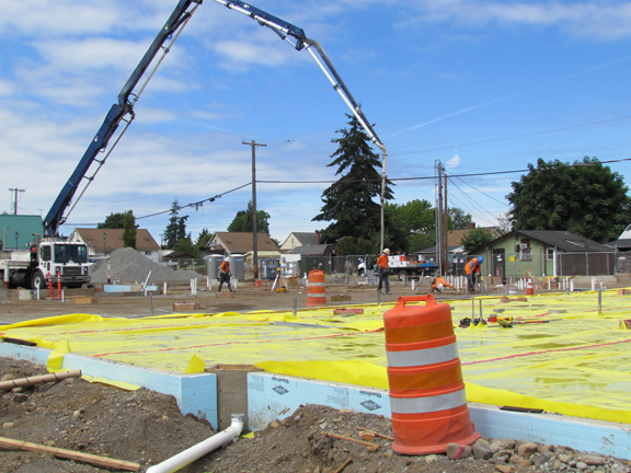 crews prepare for concrete pour